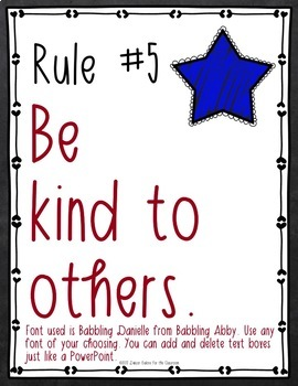 Classroom Rules EDITABLE Text - Chalkboard Stars Decor