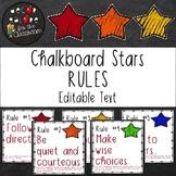 Classroom Rules EDITABLE Text - Chalkboard Stars Decor