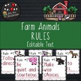 Classroom Rules EDITABLE Text - Farm Animals Decor