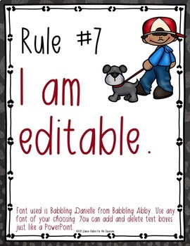 Classroom Rules EDITABLE Text - Life with Pets Decor