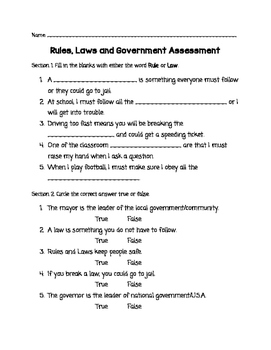 Rules, Laws and Government Assessment