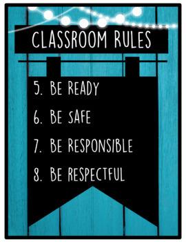 Rules Posters (EDITABLE) RUSTIC BLUE WOOD