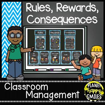 Rules Posters, Aqua and Chalkboard Theme