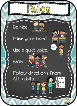 Rules Posters, Teal and Chalkboard Theme