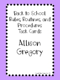 Rules, Routines, and Procedures Task Cards PDF