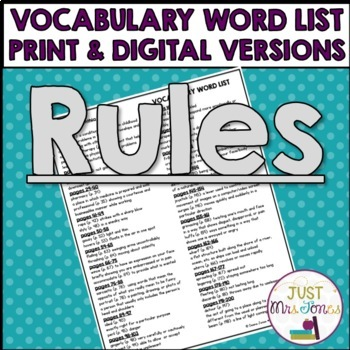 Rules Vocabulary Word List