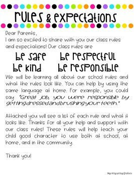 Rules and Expectations - Parent Handout