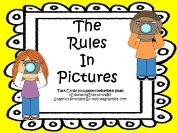 Rules and Expectations Visual Task Cards- The Rules In Pictures