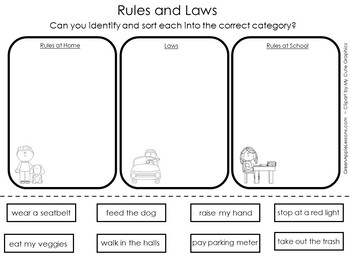 Rules and Laws First Grade Worksheet