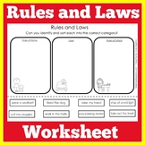 Rules and Laws | Kindergarten 1st 2nd 3rd Grade |  Workshe