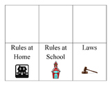 Rules and Laws Foldable / Flapbook in English and Spanish