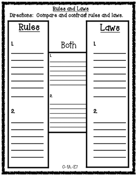 Rules and Laws H-Chart Social Studies Graphic Organizer