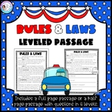Rules and Laws - Leveled Passage & Questions