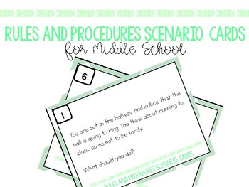 Rules and Procedure Scenario Cards for Middle School