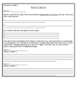 Rules and Tactics Worksheet