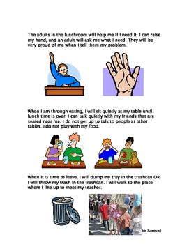Rules at Lunch Social Story