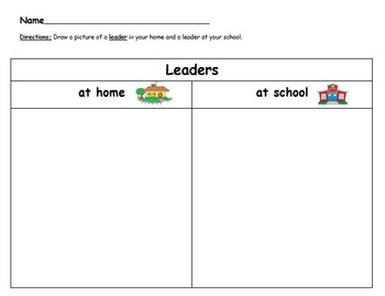 Leaders at home and at school worksheet