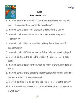 Rules by Cynthia Lord, Battle of the Books Questions
