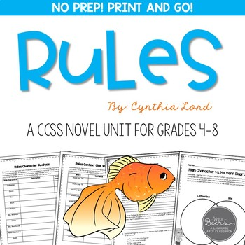 Rules Novel Study Unit - Common Core Aligned