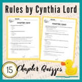 Rules by Cynthia Lord Printable Novel/Chapter Comprehension Quizzes