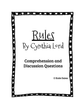 Rules by Cynthia Lord Comprehension and Discussion Questions