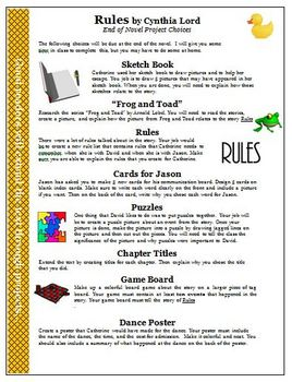 Rules by Cynthia Lord Literature Circles Reading Activity Projects