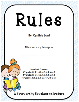 Rules by Cynthia Lord - Novel Study and Key
