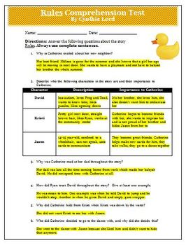 Rules by Cynthia Lord Reading Comprehension Quuz and Answer Key