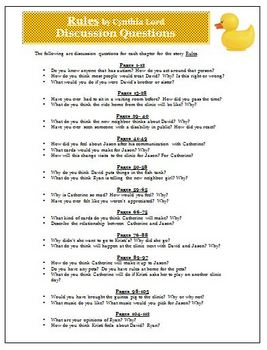 Rules by Cynthia Lord  Discussion Questions Activity