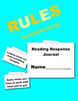 Rules by Cynthia Lord Reading Response Journal