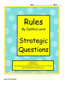 Rules by Cynthia Lord - Strategic Questions