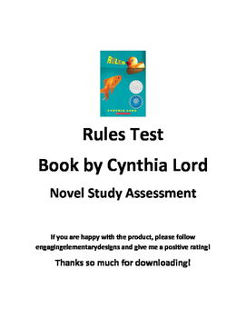 Rules by Cynthia Lord Test-updated with answer key