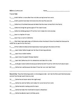 Rules by Cynthia Lord Test and Activities