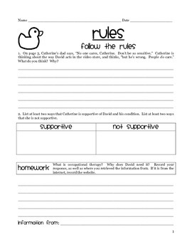 Rules by Cynthia Lorde -- Guided Reading Packet