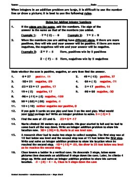 Rules for Adding Integers Practice Worksheet