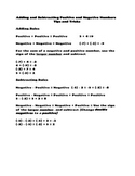 Rules for Adding and Subtracting Positive and Negative Numbers