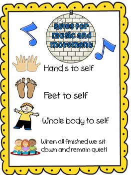 Rules for Circle Time Music and Movement Poster Freebie