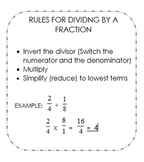Rules for Dividing by a Fraction Cards