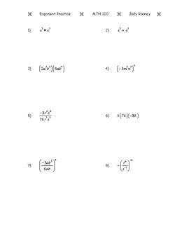 Rules for Exponents Practice