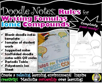 Rules for Formula Writing for Ionic Compounds - Chemistry Doodle Notes