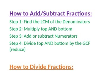 Rules for Fractional Operations-Anchor Charts