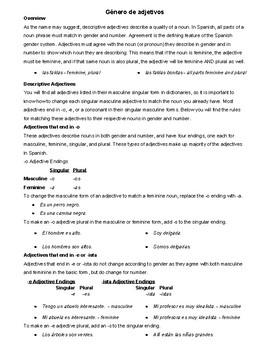 Rules for Gender/Género of Adjectives/Adjetivos in Spanish