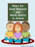 Rules for Good Behavior and Work Habits in School-Classroom Management Posters