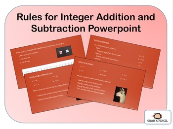 Rules for Integer Addition and Subtraction Powerpoint