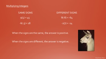 Rules for Integer Multiplication and Division Powerpoint