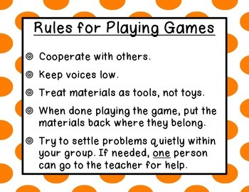 Rules for Playing Games Posters (Used for Math Centers, Games, Stations)
