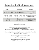 Rules for Radical Numbers Summary Sheet