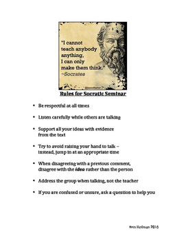 Rules for Socratic Seminar Primary Grades