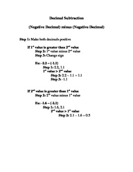 Rules for Subtracting Decimals