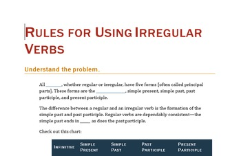 Rules for Using Irregular Verbs